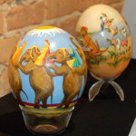Ostrich eggs painted by Greg Meija and DeeDee Spence